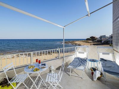 Photo for Nest on the Sea in Sicily for 4 People, terrace directly on the Beach