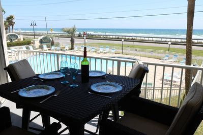 VIEWS VIEWS!  Our out side dining with seating for four.  You cannot beat this!