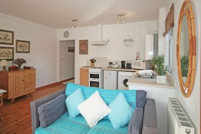 Open plan kitchen, lounge and dining area