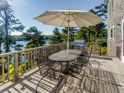 Photo for Dog-friendly lakefront home on Sheep Pond with bikes, deck, & gorgeous views!