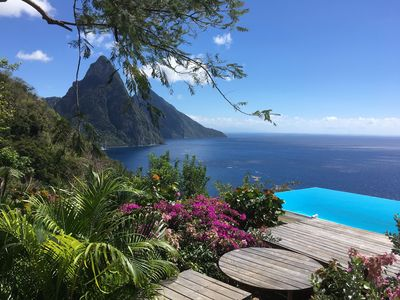 View of the Pitons from the Cosmos Pavilion terrace