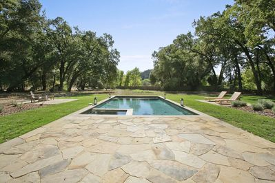 View of the Pool and Flag Stone Patio