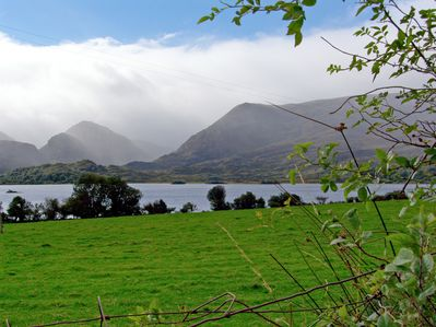 Lough Guitane and the surrounding mountains from the grounds of the property