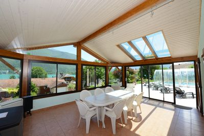 Spacious veranda with views of the lake and moutains
