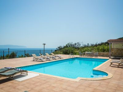 Photo for Villa within own estate. Large pool, gardens above the turtle beach of Kaminia