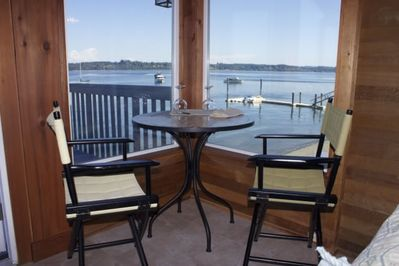 Enjoy lovely Budd Inlet while you relax indoors or out. Binoculars provided.