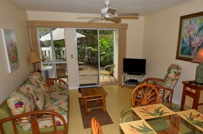 Comfy living area with TV, wifi, DVD player, stereo.