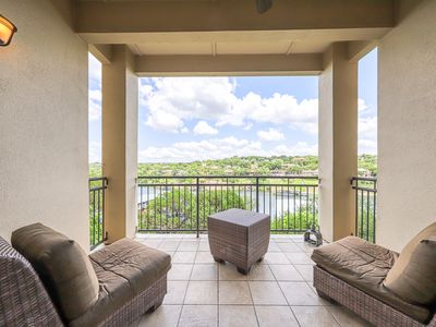 Photo for NEW LISTING! Luxury waterfront living w/ gorgeous view, balcony, & full kitchen