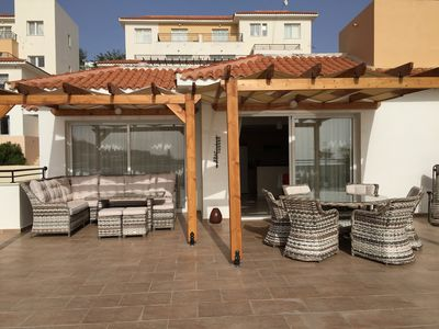 Photo for Large Terrace, Sea Views, Shared Pool, Free WiFi, UK TV Package, Air Con, Lift