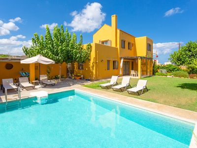 Photo for Villa Liakada: Large Private Pool, Walk to Beach, Sea Views, A/C, WiFi, Car Not Required