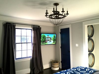 "master bedroom with 43"" tv"