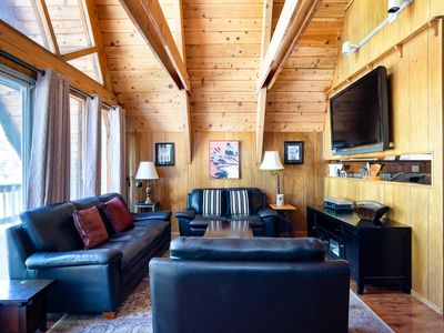Photo for Spring Special! Charming A-Frame cabin with on scenic lot, five minutes from Lake Tahoe