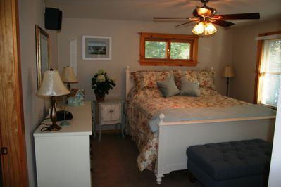 Master Bedroom with King Bed, private bath and lake view