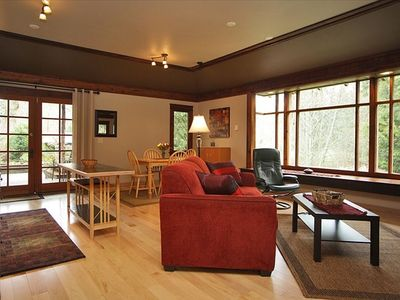 Spacious living area with ample seating if you invite people to visit