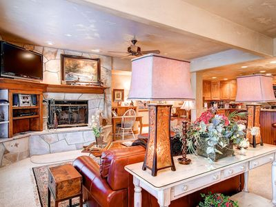 Photo for Spacious condo with a cozy wood-burning fireplace, mountain views