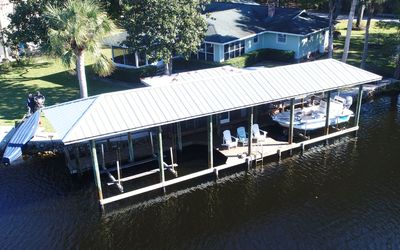 Over head view of home and boat house