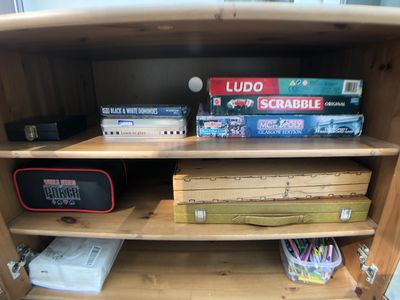 The Games cupboard in the conservatory