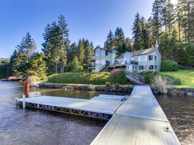 Photo for Dog-friendly, waterfront house w/ a private hot tub, game room, & dock