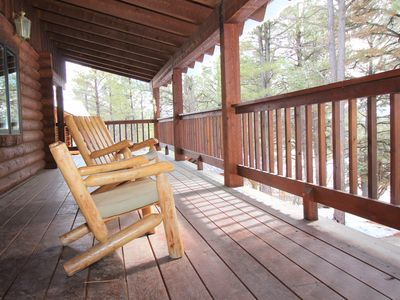 Photo for Luxury Lodge Log Home. Perfect for Family Getaway! Close to Town. Hot Tub.