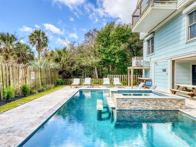 Photo for Ocean view home with a private pool & hot tub only steps from the beach!