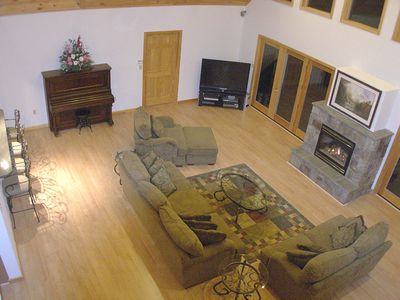 Cozy Living Room with Fireplace and 52' T.V.
