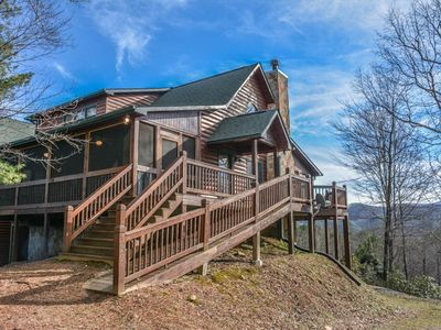 Photo for 5BR/4BA Luxury Cabin With A Beautiful Mountain View, Wifi, Pet Friendly, Gas Grill, Pool Table, Air