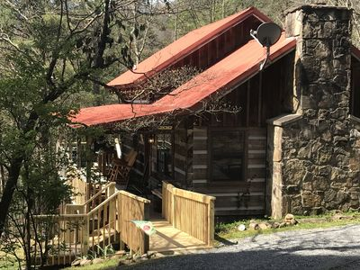 Photo for Cozy Log Cabin Smoky Mountain View, Hot Tub, Stone Fireplace,