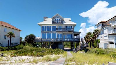 "Photo for Ready After Hurricane Michael! Newly remodeled beachfront beauty in the Plantation, dogs welcome! Fireplace, free Beach Gear, 6BR/4.5BA ""Isle Dream"""