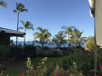 View from Lanai. Steps from the private beach.