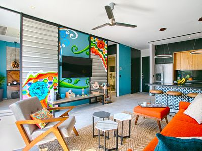 Photo for Funky Loft Style Condo | Mountain Views, Rooftop Pool, Gym