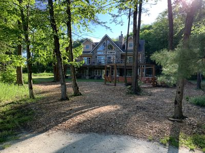Photo for Stunning Lake Front Home, Near Ski Slopes, Fireplace, Hot Tub, Firepit, Boats