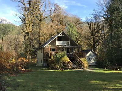 Photo for Secluded Riverfront Cabin with Hot Tub on 2 Acres. Pet Friendly!