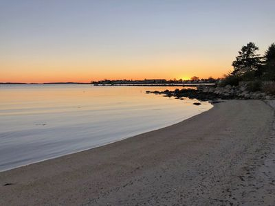 Soak up views of spectacular sunsets over the village from your private beach!
