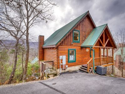 Photo for Hilltop cabin w/ hot tub, game room, gorgeous views & resort pool!
