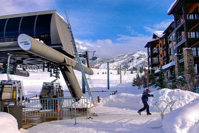 The WIldhorse gondola outside your unit takes you directly to base of the ski area.