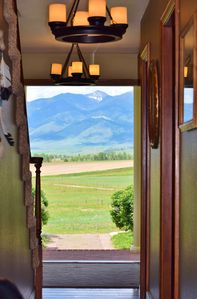 Bridger mountain views from our front door! Hallway leads to the kitchen area.