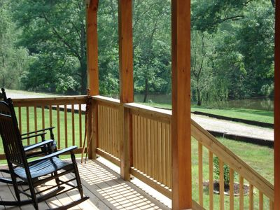 Swing or rocking chair? Tough choices! Enjoy listening to the creek from either.