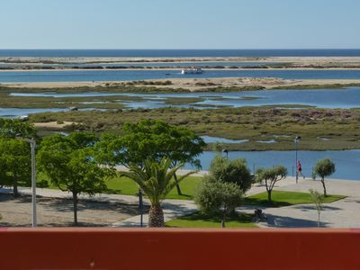 View from the apartment of the public gardens, lagoon and the island ferry