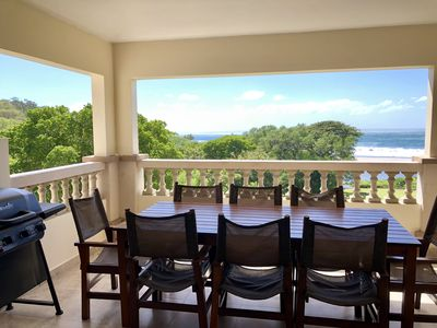 4th story Patio with dining for 8 people and a large Propane BBQ