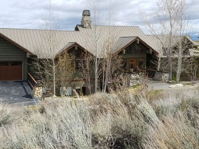 Rental Log Home picture from Street. Rental is Lower home at 7200 elevation.