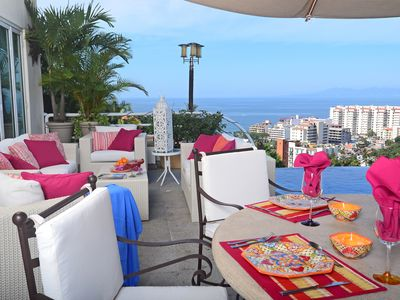 Photo for Luxury Villa Spectacular Ocean Views- Gourmet 7 Person Staff Walk to Downtown