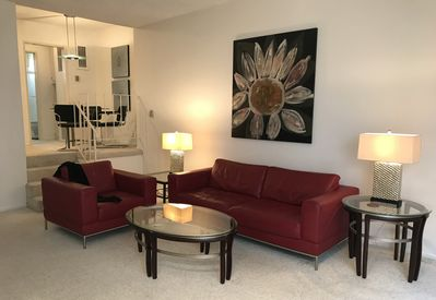 The Living Room has new, very comfortable leather furniture and original art