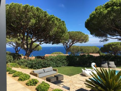Photo for Glorious sea views, large heated pool, beach 2 min, recently renovated villa