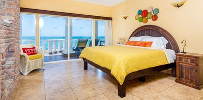 Ocean view bedroom #1 has a king size memory foam mattress and premium bedding