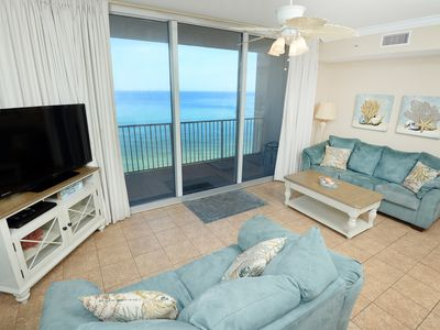 Photo for Beach-chic gulf-front condo w/ pools, hot tubs & beach service - near Pier Park!
