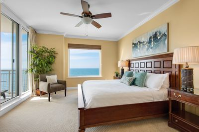 Gulf front master bedroom #1 with sliding glass door to gulf front balcony