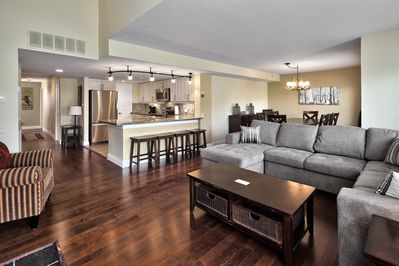 Extensive open concept living area including kitchen, living &dining rooms