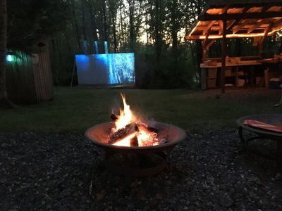 "The ""Grove"" firepits & movie night area $35 for add on movie night! See details."