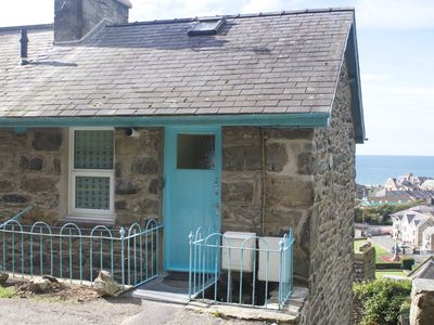 Photo for Stone Welsh cottage, sea views, close to town & beach, dogs welcome