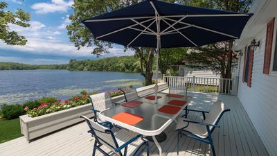 Photo for Renovated Waterfront Home on Big Fresh Pond, Chef-Inspired Kitchen, Deck with Hot Tub, Kayaks
